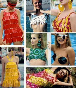 """""""Paco Rabanne's starkly geometrical plastic swimsuits employ contemporary materials with a classic simplicity, conjuring up timeless images.  Rabanne's modern male-female approach is most apparent in air-conditioned outfit, above right, designed to show and shield a fair lady.  The girl in the center wears a bolero of disks emblazoned with concentric circles, suggesting the armor of Attic warriors.  The lass on her left, peering through one of Poco's opulent optics, shielded by breastplates that further delineate a common interest of ancient and modern times…"""""""