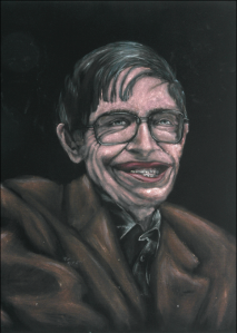 My black velvet portrait of Dr Hawking.