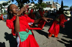 In this file photo, a Malagasy traditional singing and dancing group is seen performing in the streets of Antananarivo, in 2002.