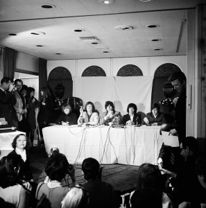 The Rolling Stones at a press conference at the Beverly Rodeo Hotel, Los Angeles, 10th July 1965. Left to right: Brian Jones, Mick Jagger, Keith Richards, Bill Wyman and Charlie Watts. (Photo by Hulton Archive/Getty Images)