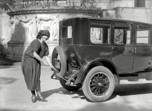 eb 2015 - 5x7 glassneg - Oldsmobile 1924 - woman w grease gun