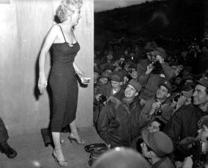 Marilyn Monroe, motion picture actress, appearing with the USO Camp Show,