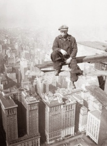 A worker relaxing during the construction of the Empire State Building, 1930