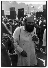 Allen Ginsberg walking through crowd backstage at Human Be-In
