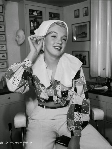 Marilyn Monroe making up in the Columbia Studios for the movie Ladies Of The Chorus, 1948 (3)