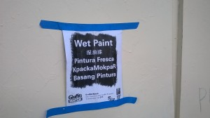 Only in SF are Wet Paint signs so multilingual