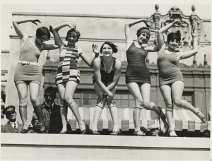 6. Mission Beach beauties celebrate May Day Charleston in San Diego, CA, ca. 1930s