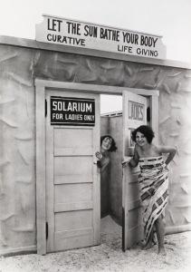 "Bathing beauties emerge from a ""solarium"" in St. Petersburg, Florida, June 1929"