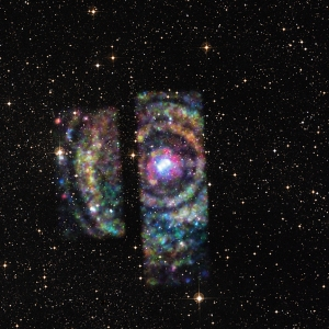 Chandra data of Circinus X-1 reveal a set of four rings that appear as circles around the neutron star, providing a rare opportunity to determine the distance to an object on the other side of the Milky Way galaxy. These rings can be seen in the composite image of X-rays from Chandra (red, green, and blue) with a visible light image from the Digitized Sky Survey. These rings are light echoes, which are produced when a burst of X-rays from the star system ricochets off of clouds of dust between Circinus X-1 and Earth. By combining the X-rays with radio data, astronomers can use relatively simple geometry to pinpoint the location of the intervening clouds and then Circinus X-1.