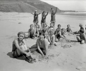 eb 2015 - 6.5x8.5 glassneg - Hiller negative - bathers with Fort Point in distance - c. 1920 - eb Aug 2015