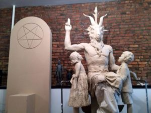 Model for the Satanist monument at the Oklahoma State House in response to that state's passing a law allowing religious monuments there.