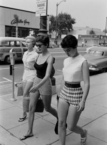 Teens on sidewalk, ca. 1950s