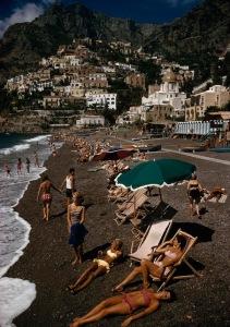 Timeless sunbathers in Positano, Italy, 1959