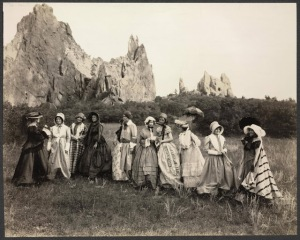 Women rehearsing for the Equal Rights Pageant produced by the National Woman's Party at the Garden of the Gods, Colorado Springs. Sept. 23, 1848