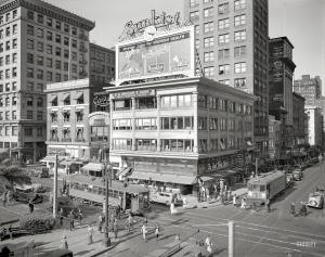 San Francisco - June 1 1935 - Blaisdell 15935 - 8x10 filmneg - eb 2015 - Union Square and Geary Street - Owl Drug - Sunkist billboard