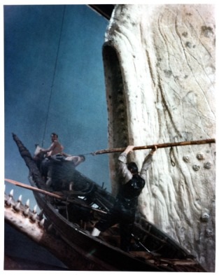 Gregory Peck holds a spear to the whale in a scene from the film 'Moby Dick', 1956. (Photo by Warner Brothers/Getty Images)