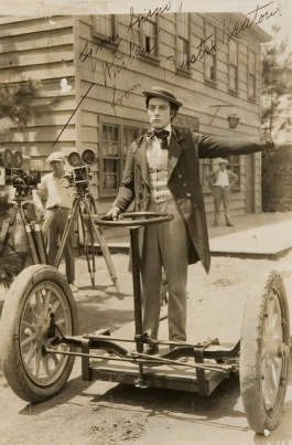 Buster Keaton rides his first Segway, ca. 1920s
