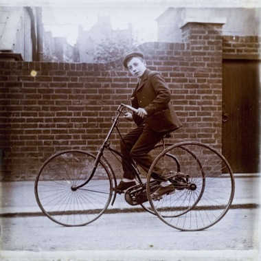 Young lad on an early tricycle, ca. 1890s