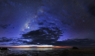 The Milky Way and planet Venus in the evening twilight over Lake Turkana, northern Kenya.