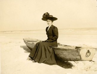 Lovely vintage photograph of a Victorian Lady at the beach