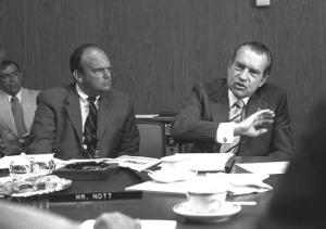 "John D. Ehrlichman (l.), a top adviser to former President Richard Nixon (r.) is seen here in a 1972 photo. Ehrlichman, who died in 1999, admitted that the administration's ""War on Drugs"" was actually a ploy to target left-wing protesters and African-Americans."