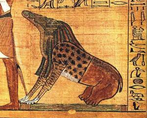 "Ammut, a female demon from ancient Egypt with a body that was part lion, hippopotamus and crocodile—the three largest ""man-eating"" animals known to ancient Egyptians. A funerary deity, her titles included ""Devourer of the Dead,"" and ""Eater of Hearts."" ( Public Domain )"