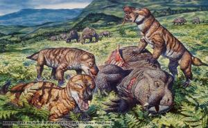 A group of Cynodonts, the missing links between reptiles and mammals, eating a dicynodont therapsid. The early Triassic period. It was one of the more mammal-like of the mammal-like reptiles, a member of a grouping called Eucynodontia. Triassiac age of Africa.