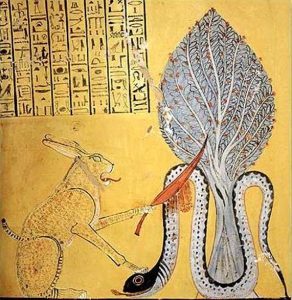 The sun god Ra, in the form of a Great Hare, slays the demon snake Apep, who embodied chaos. - (Public Domain)
