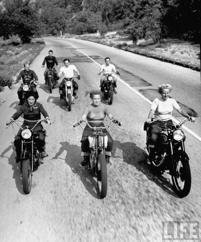 Riders enjoying a Sunday afternoon jaunt in Griffith Park, Los Angeles, 1949