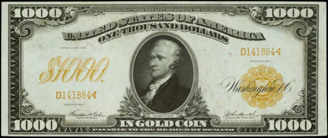 Originally he appeared on the $1,000 bill starting in 1861.