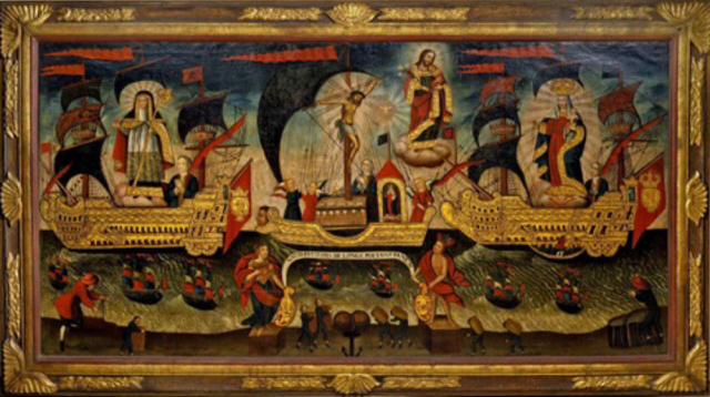 "Almohadilla, Mexican Sewing box - Michoacán, Mexico 18th Century, Lacquered veneer 12 x 42 x 13 cm Almohadilla, Mexican Sewing box - Michoacán, Mexico 18th Century, Lacquered veneer 12 x 42 x 13 cm Probably produced by the Cerda family in Michoacan, Mexico. Inquisition officials found many tools associated with sewing, knitting and embroidery, some of the hobbies of high-born colonial women - This Sewing box or ""Almohadilla"" as known in Spanish countries, is a fine example of the quality expected by high ranking Mexican families. The present Almohadilla depicts various scenes from daily and intimate life, for example buying fruit cultivated on the islands of the lake, being presented with flowers, set in the lush grounds of a castle or villa. Biombo, Peruvian School - 18th Century, Seven Panel folding Viceregal screen, oil on canvas 208 x 504 cm Biombo, Peruvian School - 18th Century, Seven Panel folding Viceregal screen, oil on canvas 208 x 504 cm First appearing in the Americas in the early 17th century after their introduction from Japan and China, the folding screens of New Spain, or biombos, would come to embellish the homes and palaces of the elite. In their various permutations, they reflect the changing tastes and fashions of a world increasingly connected through global economic exchange and the politics of the colonial period. The present screen depicts various couples set in the lush grounds of a castle with a hunting scene in the background. In the centre, a woman stands close to a peacock, perhaps symbolizing marriage, who holds a rose in her hands and turns towards a gentleman on a horse. To their right, another couple are dressed as pilgrims of the Camino de Santiago de Compostela as evident by the scallop shells stitched on their clothes, possibly as a memoir of their pilgrimage to the Galician city. A similar biombo, depicting a scene of early 18th century daily life in Colonial Mexico is at the Denver Art Museum. Provenance: From the Collection of Duque de Sessa's family Gavito y Jauregui, Barcelona in 18th century. Allegorical Flotilla of Salvation Perú. Cuzco School 17th Century Oil on canvas 49 7/8 x 99 1/2 inches (127 x 253 cm) Allegorical Flotilla of Salvation Perú. Cuzco School 17th Century Oil on canvas 49 7/8 x 99 1/2 inches (127 x 253 cm)"