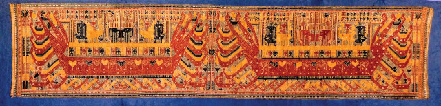 "Dancing Threads Dancing Threads This extremely rare 19th century double-red ship textile is from Lampung, in south Sumatra and will be part of the exhibit. This area produced the spectacular so-called ""ship cloths"", arguably the most famous textiles to come out of Indonesia. Ship cloths were thought to ease the transition from one stage of life to another. The long ship cloths, called palepai, were made and used only by the aristocracy. These were used as ceremonial banners to mark the position of the most important people in the ceremony. Strict sanctions prevented any but the aristocracy from making, possessing, or using palepai."
