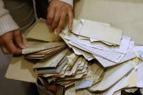 Judaica Research Centre chief Lara Lempertiene files through rediscovered Jewish documents