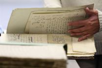 Judaica Research Centre chief Lara Lempertiene files through rediscovered Jewish documents, long thought to have been destroyed during World War II, in Lithuanian national library in Vilnius