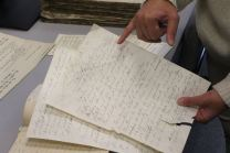 Judaica Research Centre chief Lara Lempertiene shows a rediscovered Jewish document