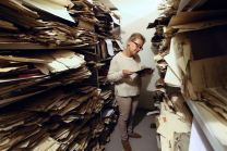 Judaica Research Centre chief Lara Lempertiene stands amid rediscovered Jewish documents