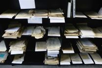 Rediscovered Jewish documents, long thought to have been destroyed during World War II, are pictured in Lithuanian national library in Vilnius